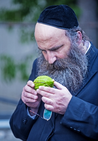 JERUSALEM - SEP 28 : An ultra-orthodox Jewish man inspects an Etrog in the Four spesies market in Jerusalem Israel on September 28 2012 , Etrog is one of the Four spesies used during the celebration of Sukot Stock Photo - 15621208
