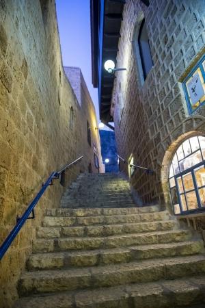 A narrow street at night in historic Jaffa , Israel Stock Photo - 15621210