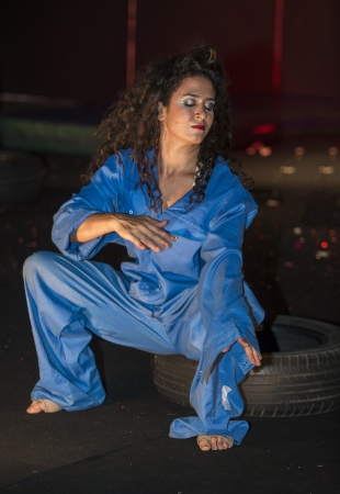 yam israel: BAT-YAM, ISRAEL - OCT 05 : An unidentified actress perform in the annual Bat-Yam festival of street theatre take place in the city of Bat-Yam near Tel-Aviv , Israel on October 05 2012