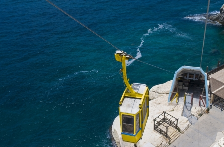 hanikra: Funicular on Rosh Hanikra at the Israels northern border from a top of hill to a seashore