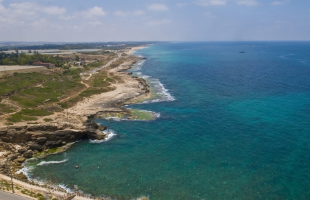 view of the Mediterranean sea in Rosh Hanikra , northern Israel.