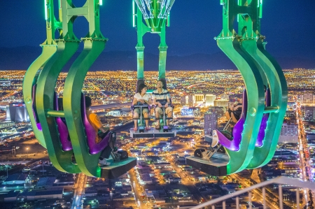 stratosphere: LAS VEGAS - NOVEMBER 08: The x-stream thrill ride on the top of Stratosphere tower on November 08, 2012 in Las Vegas. Las Vegas in 2012 is projected to break the all-time visitor volume record of 39-plus million visitors