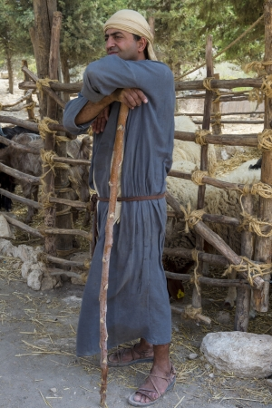 crist: NAZARETH, ISRAEL - OCT 15 : Portrait of Palestinian shepherd with traditional clothing in October 15 2012 at Nazareth Village, historical re-creation of Nazareth as it was at the time of Christ