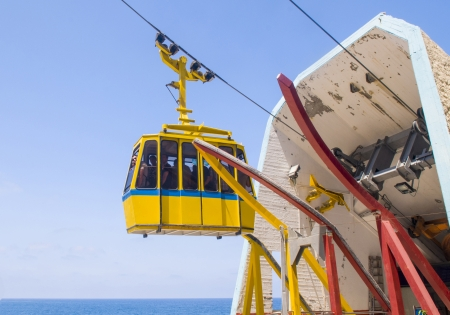Funicular on Rosh Hanikra at the Israels northern border from a top of hill to a seashore