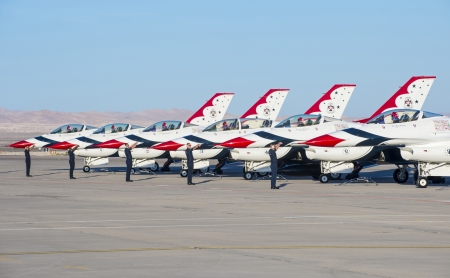 LAS VEGAS - NOVEMBER 11: Thunderbird F-16 Aircrafts preparing to an air show on November 11, 2012 in Las Vegas,USA. The Thunderbirds are the air demonstration squadron of the United States Air Force