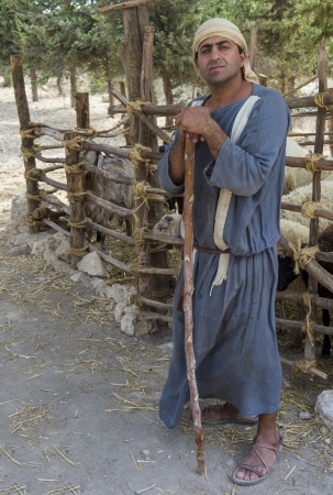 NAZARETH, ISRAEL - OCT 15 : Portrait of Palestinian shepherd with traditional clothing in October 15 2012 at Nazareth Village, historical re-creation of Nazareth as it was at the time of Christ Stock Photo - 17003740