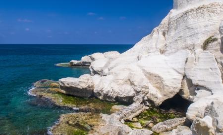 hanikra: view of the Mediterranean sea in Rosh Hanikra , northern Israel.