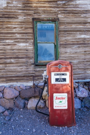 NELSON , USA - NOV 25 : Old wooden house and old fuel pump in Nelson Nevada ghost town on November 25 ,2012