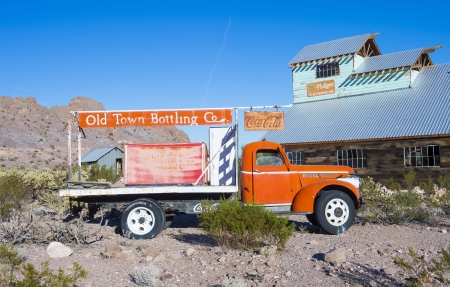 NELSON , USA - NOV 25 : Old wooden house and old Coca cola truck in Nelson Nevada ghost town on November 25 ,2012
