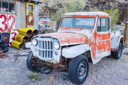 NELSON , USA - NOV 25 : Old wooden house and rusty old cars in Nelson Nevada ghost town on November 25 ,2012