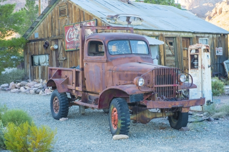 NELSON , USA - NOV 25 : Old wooden house and rusty old truck in Nelson Nevada ghost town on November 25 ,2012