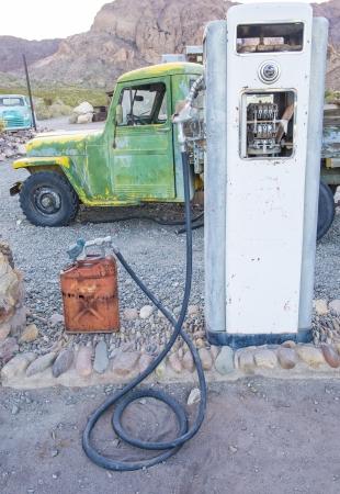 NELSON , USA - NOV 25 : Old rusty truck and old fuel pump in Nelson Nevada ghost town on November 25 ,2012