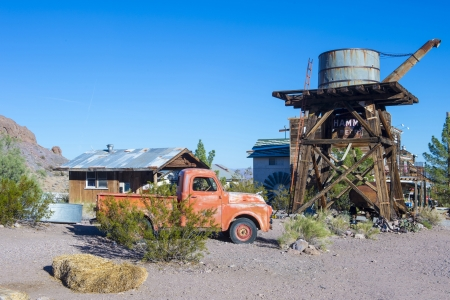 NELSON , USA - NOV 25 : Old wooden houses and rusty old truck in Nelson Nevada ghost town on November 25 ,2012