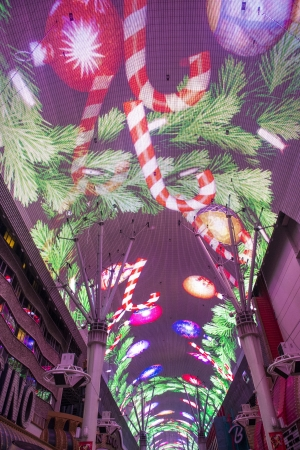 LAS VEGAS - DEC 07 : The Fremont Street Experience a pedestrian mall and attraction in downtown Las Vegas on December 07, 2012. Las Vegas in 2012 broke the all-time visitor volume record of 39-plus million visitors