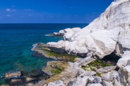 view of the Mediterranean sea in Rosh Hanikra , northern Israel. Stock Photo - 17361296