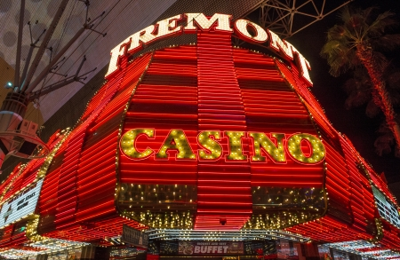 LAS VEGAS - DEC 07 : The Fremont hotel and casino sign in downtown Las Vegas on December 07, 2012. Las Vegas in 2012 broke the all-time visitor volume record of 39-plus million visitors