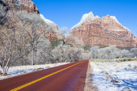The Zion national park in Utah on winter photo