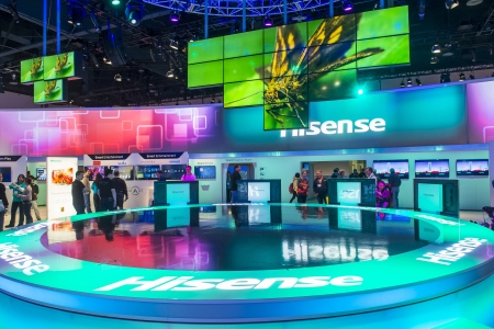 LAS VEGAS - JANUARY 11 : The Hisense booth at the CES show held in Las Vegas on January 11 2013 , CES is the world's leading consumer-electronics show and companies from all over the world come to show their latest technologies and products. Stock Photo - 18739195