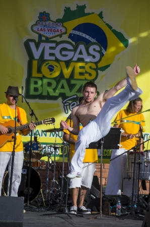 LAS VEGAS - APRIL 13 : Capoeira fighter participate in the Vegas loves Brazil festival in Las Vegas on April 13 2013 , Vegas loves Brazil is the Nevada's Largest, Most Authentic Brazilian festival