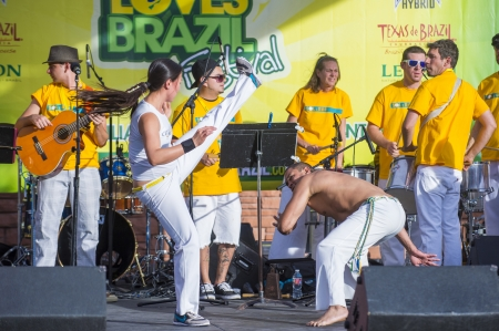 LAS VEGAS - APRIL 13 : Capoeira fighters participate in the Vegas loves Brazil festival in Las Vegas on April 13 2013 , Vegas loves Brazil is the Nevada's Largest, Most Authentic Brazilian festival