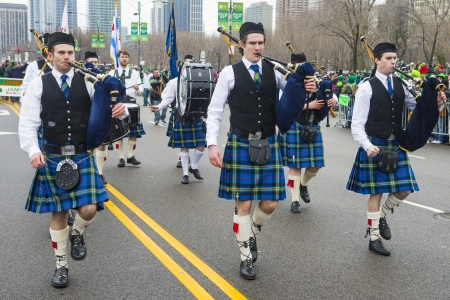 CHICAGO - MARCH 16 : Bagpipers at the annual Saint Patrick's Day Parade in Chicago on March 16 2013