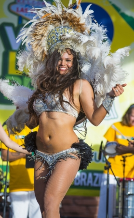 LAS VEGAS - APRIL 13 : Samaba dancer participate in the Vegas loves Brazil festival in Las Vegas on April 13 2013 , Vegas loves Brazil is the Nevada's Largest, Most Authentic Brazilian festival