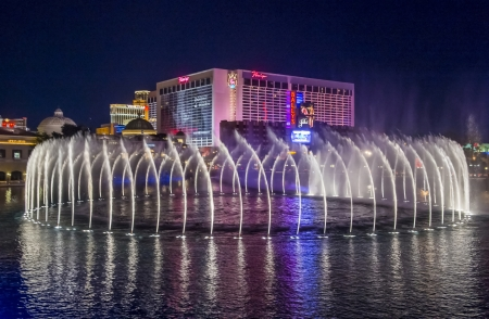 LAS VEGAS - FEB 11: Night view of the dancing fountains of Bellagio and flamingo hotel in Las Vegas Nevada, USA on February 11 , 2013 Stock Photo - 19183872