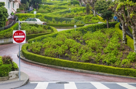 SAN FRANCISCO - MARCH 19 : View of Lombard Street in San Francisco California on March 19 2013 , Lombard street is crookedest street in the world