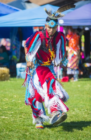 pow wow: MARIPOSA ,USA - MAY 11 : An unidentified Native Indian man takes part at the Mariposa 20th annual Pow Wow in California , USA on May 11 2013 ,Pow wow is native American cultural gathernig event.