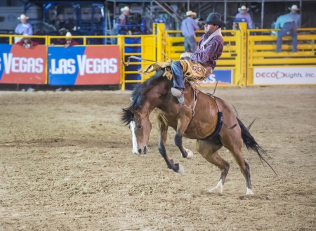LAS VEGAS - MAY 17 : Cowboy Participant in a Bucking horse Competition at the Helldorado Days Professional Rodeo in Las Vegas , USA on May 17 2013