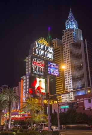 manhatan: LAS VEGAS - FEBRUARY 14 : New York-New York Hotel & Casino in Las Vegas on February 14 2013; This hotel simulates the real New York City skyline and It was opened in 1997. Editorial