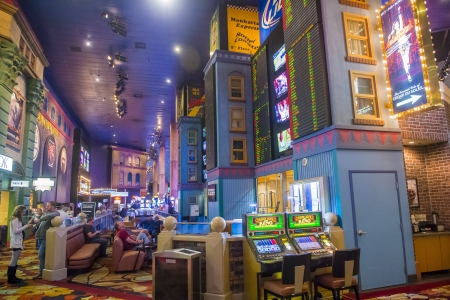 manhatan: LAS VEGAS - FEBRUARY 14 : The interior of New York-New York Hotel & Casino in Las Vegas on February 14 2013; This hotel simulates the real New York City street and It was opened in 1997.