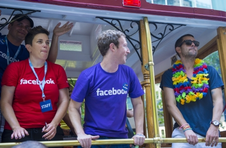 mark zuckerberg: SAN FRANCISCO JUNE 30 : Facebook CEO Mark Zuckerberg Marched With 700 Facebook Employees In San Franciscos Gay Pride Parade on June 30 2013