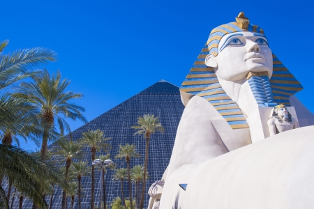 LAS VEGAS - FEB 26: The Luxor hotel and casino on February 26 2013 , The hotel located on the Las Vegas Strip, contains a total of 4,400 rooms lining the interior walls of a pyramid style tower