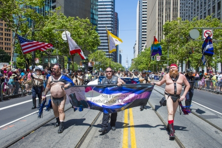 kinky: SAN FRANCISCO -  JUNE 30 : An unidentified Leather Pride Contingent members participates at the annual San Francisco Gay pride parade on June 30 2013 Editorial