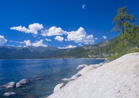 The shore of Lake Tahoe in Northern Nevada photo