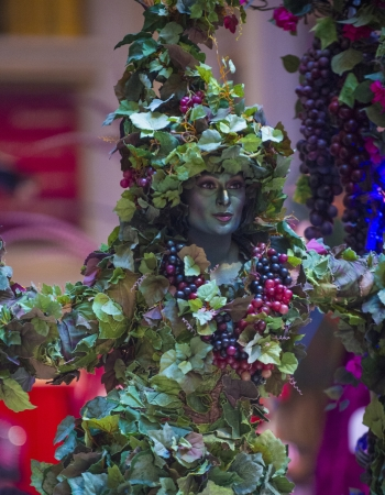 carnevale: LAS VEGAS - JULY 16 : Performer dressed in costume at the Carnevale experience festival in the Venetian Hotel in Las Vegas on July 16, 2013.