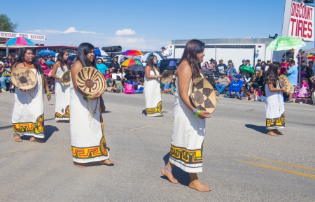 pima: GALLUP , NEW MEXICO - AUGUST 10 : Pima tribe women with traditional costume participates at the 92 annual Inter-tribal ceremonial parade on August 10 , 2013 in Gallup New-Mexico