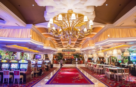 LAS VEGAS -FEB 26 : The the interior of Wynn Hotel and casino on February 26 2013 in Las Vegas. The hotel has 2,716 rooms and opened in 2005.