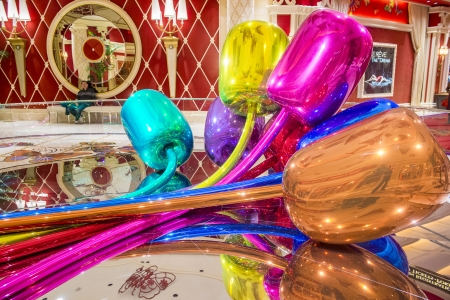 million dollars: LAS VEGAS -FEB 25 : The Jeff Koons Tulips Sculpture display at the Wynn Hotel in Las Vegas on February 25 2013. The sculpture purchased by Steve Wynn in 2012 for $33.6 million dollars Editorial