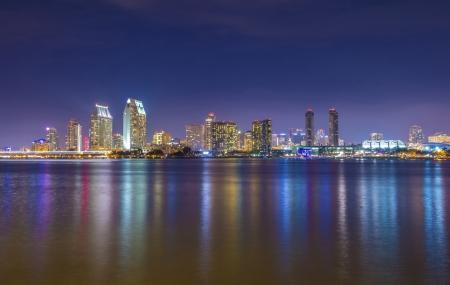 San Diego skyline at night as seen from coronado peninsula