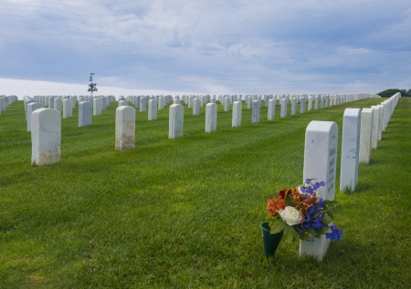 a memorial to fallen soldiers: United States Military Cemetery in Point Loma San Diego, California