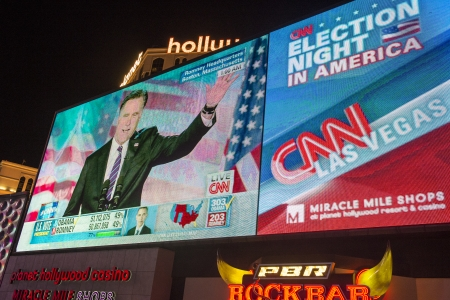 LAS VEGAS - NOV 07 : Election night in Las Vegas strip on November 07 2012 , CNN election broadcasts were projected on a giant screens