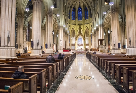 accommodate: NEW YORK - NOV 01 : The interior of St. Patricks Cathedral, a neogothic Roman Catholic Cathedral in New York City on November 01 2012 , the cathedral can accommodate 2,200 people. Editorial