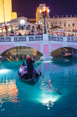 LAS VEGAS - NOV 15 : The Venetian hotel and replica of a Grand canal in Las Vegas on November 15, 2013. With more than 4000 suites it`s one of the most famous hotels in the world