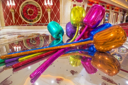million dollars: LAS VEGAS - NOV 24 : The Jeff Koons Tulips Sculpture display at the Wynn Hotel in Las Vegas on November 24 2013. The sculpture purchased by Steve Wynn in 2012 for $33.6 million dollars Editorial