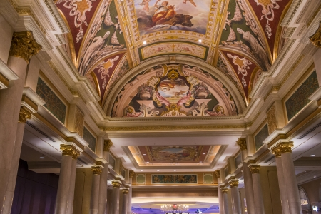 than: LAS VEGAS - NOV 15 : The interior of the Venetian hotel & Casino in Las Vegas on November 15, 2013. With more than 4000 suites its one of the most famous hotels in the world.