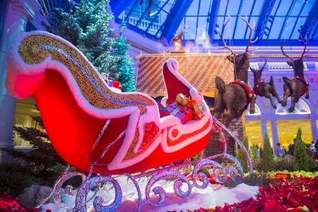 each year: LAS VEGAS - DEC 30: Winter season in Bellagio Hotel Conservatory & Botanical Gardens on December 30 ,2013 in Las Vegas. There are five seasonal themes that the Conservatory undergoes each year. Editorial