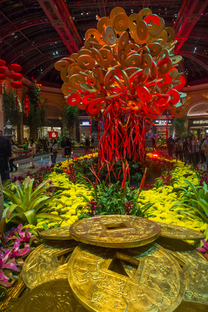 each year: LAS VEGAS - JAN 13: Chinese New year in Bellagio Hotel Conservatory & Botanical Gardens on January 13, 2014 in Las Vegas. There are five seasonal themes that the Conservatory undergoes each year.