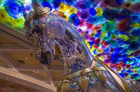 LAS VEGAS - JAN 13 : The Hand Blown Glass Flower Ceiling at the Bellagio Hotel on January 13, 2014 in Las Vegas. is comprised of 2,000  glass blossoms by glass sculptor Dale Chihuly